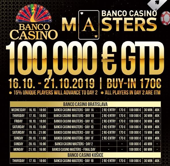 Říjnové Banco Casino Masters o €100,000 GTD